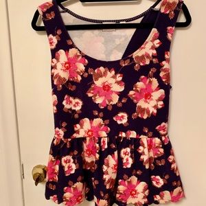 Anthropologie floral peplum top